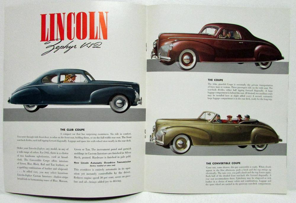 1941 Lincoln Zephyr V12 Sales Brochure