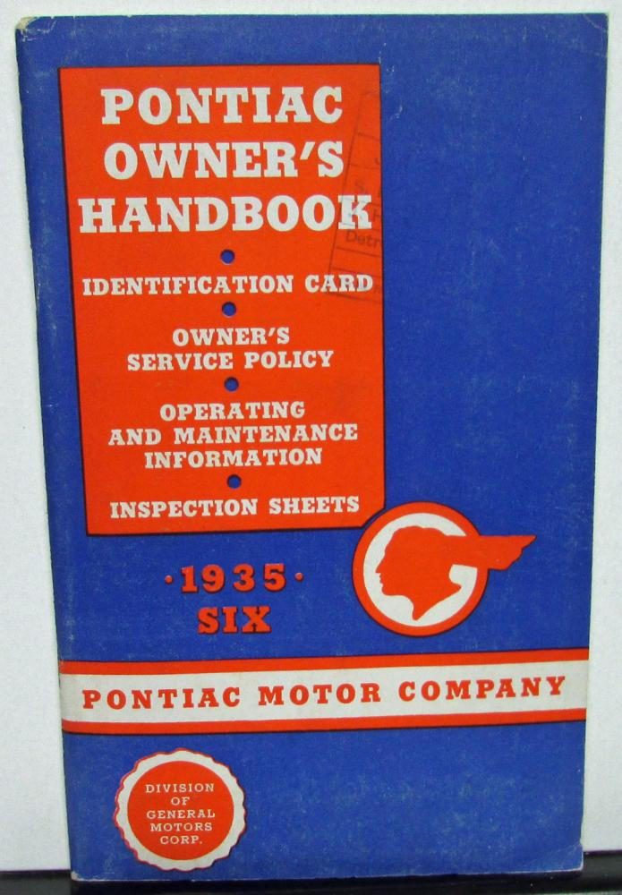1935 Pontiac Six Owners Manual Care & Operation Lubrication Chart & More