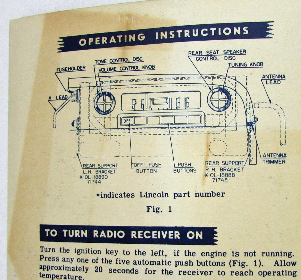 1951 Lincoln Radio Owners Manual & Operating Instructions Trifold with  Extras