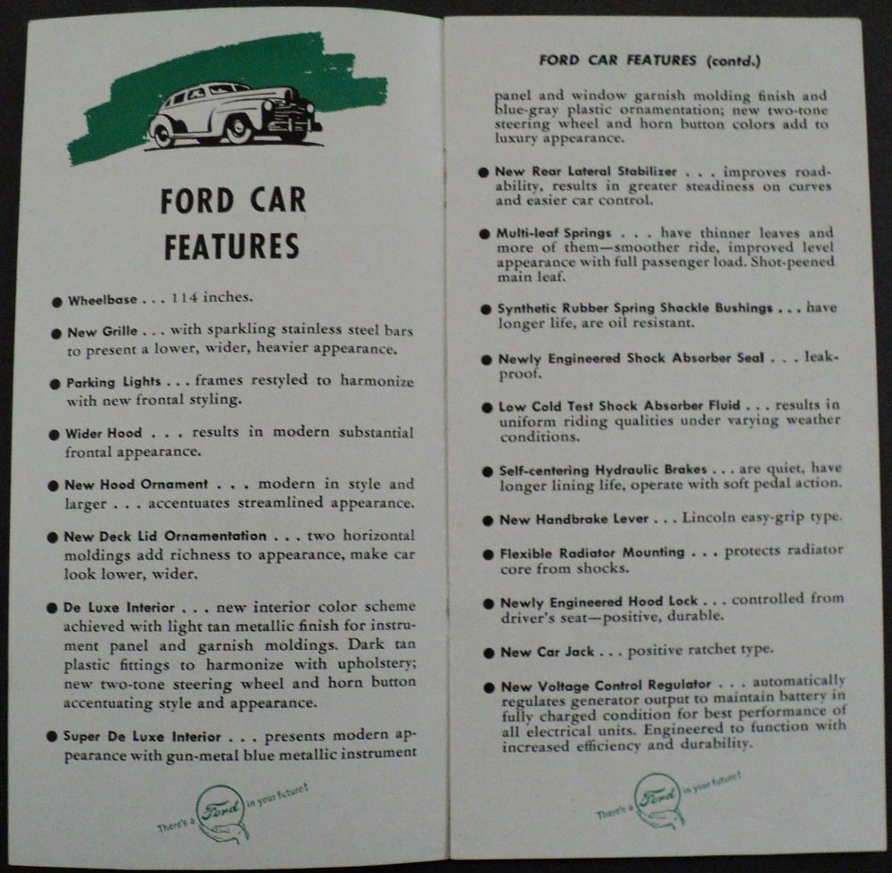 1946 ford quick facts about cars  u0026 trucks 6 cyl  u0026 v8 engines sales brochure