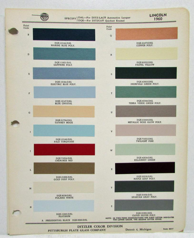 1960 lincoln color paint chips ditzler pittsburgh plate for Paint color chips