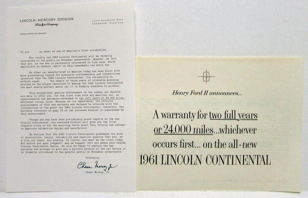 1961 lincoln continental warranty folder with letter. Black Bedroom Furniture Sets. Home Design Ideas