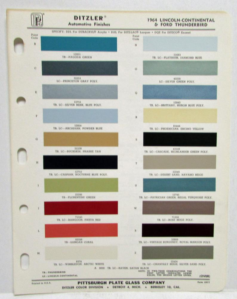 1964 lincoln continental and ford thunderbird paint chips
