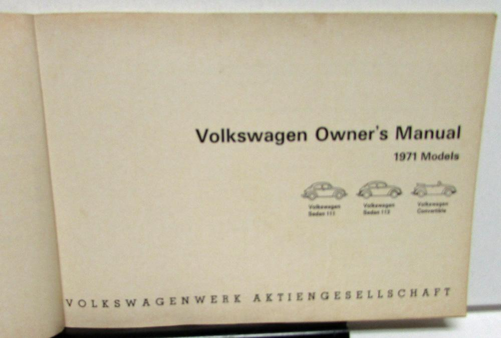 1971 Volkswagen VW Beetle Owners Manual Care & Operation