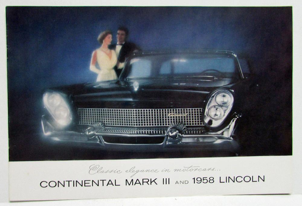 1958 lincoln continental mark iii premiere and capri sales brochure. Black Bedroom Furniture Sets. Home Design Ideas