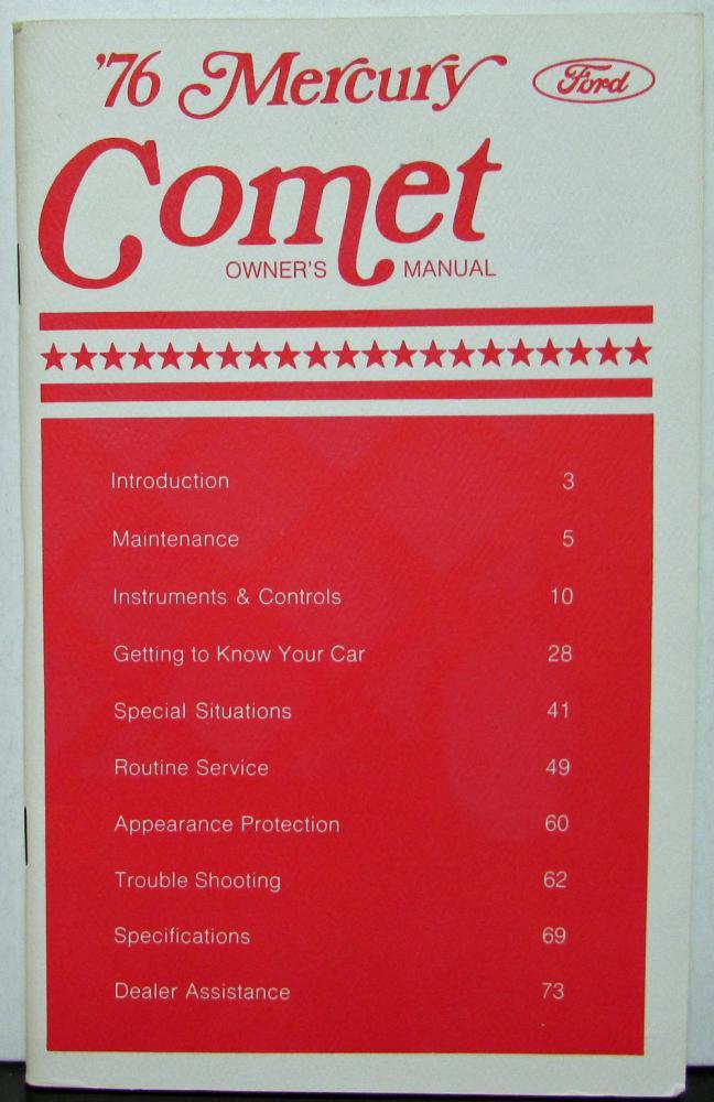 1976 mercury comet owners manual original rh autopaper com comet dinghy owners manual comet pump owners manual