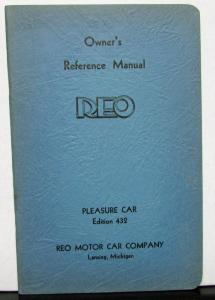 1932 REO Pleasure Car 432 Owners Manual Care & Operation Original Nice