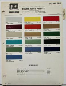 1972 Dodge Truck RM Rinshed Mason Inmont Paint Chips Sheet Original