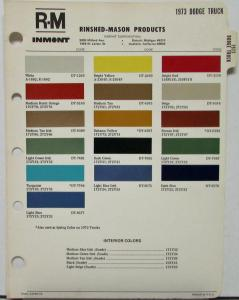1973 Dodge Truck RM Rinshed Mason Inmont Paint Chips Sheet Original