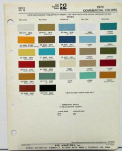 1974 Dodge Truck Commercial PPG Paint Chips Sheet Original
