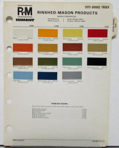 1975 Dodge Truck RM Rinshed Mason Inmont Paint Chips Sheet Original