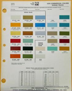1976 Dodge Truck & Motor Home Commercial Paint Chips By PPG Sheet Original