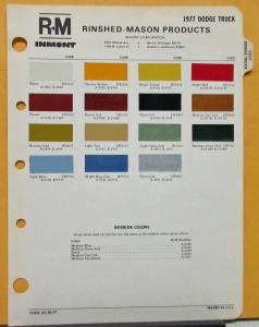 1977 Dodge Truck Paint Chips By R-M Inmont Rinshed-Mason Sheet Original