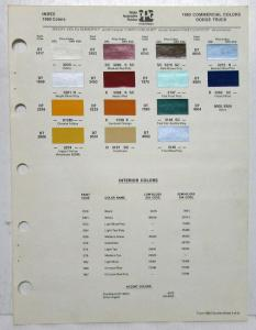 1980 Dodge Truck & Commercial Paint Chips By PPG Sheet Original