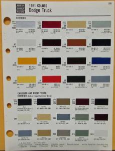 1981 Dodge Truck Color Paint Chips By Martin Senour Paints Sheet Original