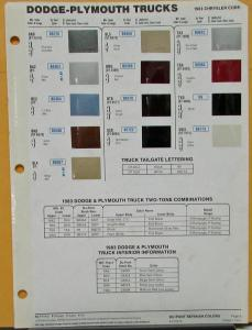 1983 Dodge Plymouth Truck Color Paint Chips By DuPont Sheet Original