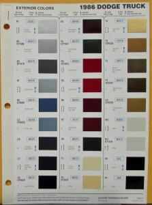 1986 Dodge Truck Color Paint Chips By DuPont Sheet Original