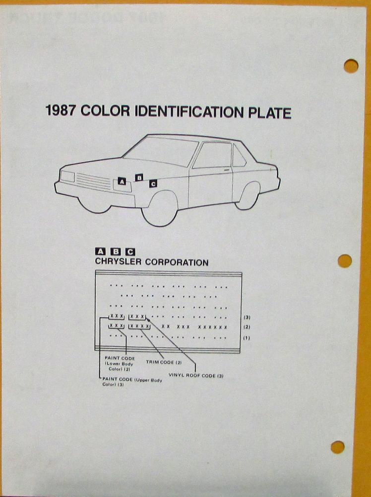 1987 Dodge Truck Color Paint Chips By DuPont Sheet Original