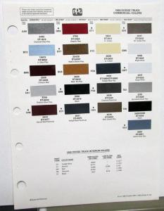1988 Dodge Truck Color Paint Chips By PPG Sheet Original