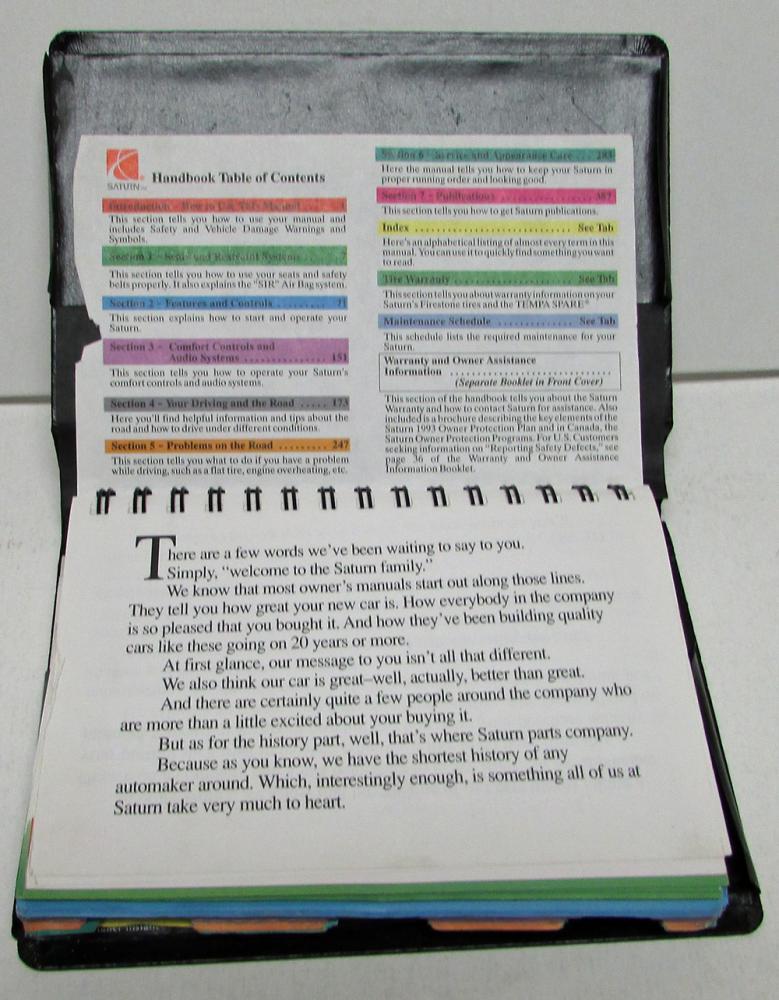 1993 saturn owners manual care operation handbook original hardcover rh autopaper com 1996 Saturn 1993 Saturn SL1