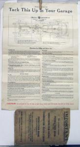 1921 to 1926 REO T6 U6 Oiling Diagram with Envelope ORIGINAL