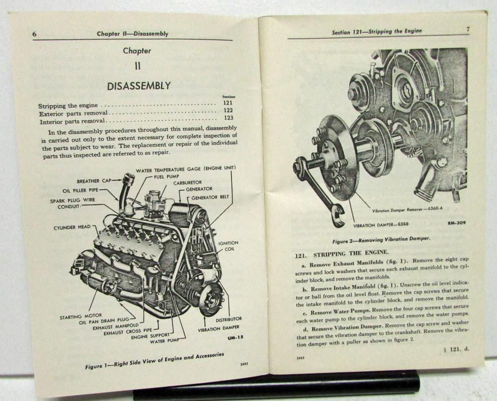 1936 47 Lincoln V12 Engines H Series Repair Manual Service Maintenance Engine Diagram