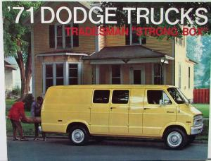 1971 Dodge Tradesman Van & Maxi B 100 200 300 Strong Box Sales Brochure Original