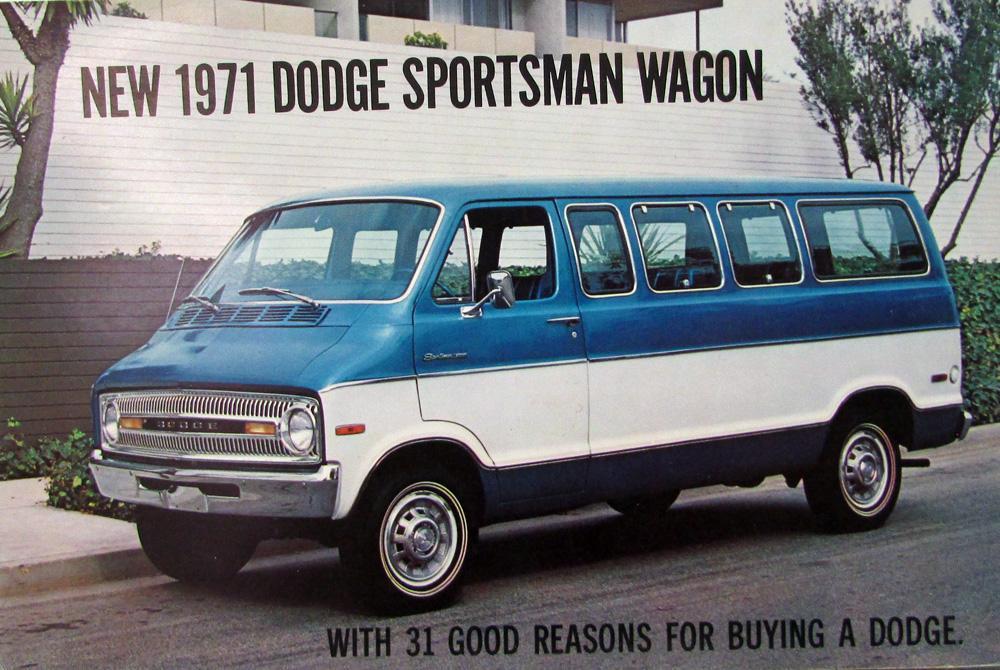 1971 Dodge Sportsman Wagon Van Color Postcard Original