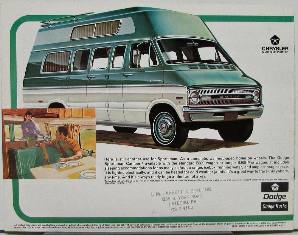 1972 Dodge Sportsman Wagon Van Color Sales Brochure