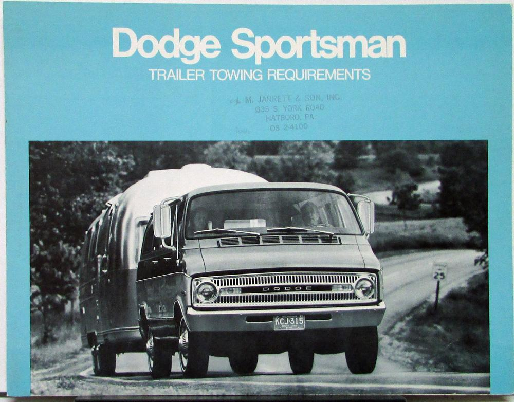 1972 Dodge Sportsman Wagon Van Trailer Towing Requirements