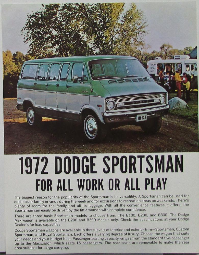 1972 Dodge Sportsman Wagon B 100 200 300 Models Data Sheet With
