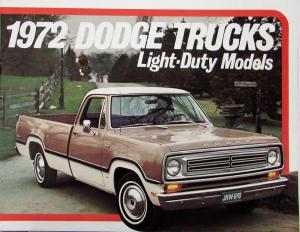 1972 Dodge Adventurer Custom Light Duty Pickup D100 D200 D300 Sales Brochure