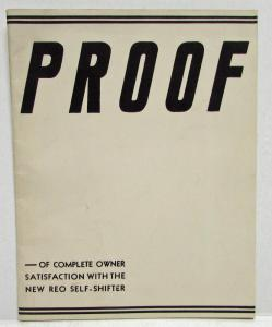 1934 REO Self Shifter Promotional Sales Brochure PROOF Testimonials Original