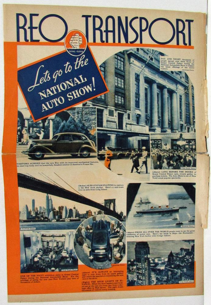 1936 REO Car Truck Transport Auto Show Ad Newspaper Style Sales Brochure Folder