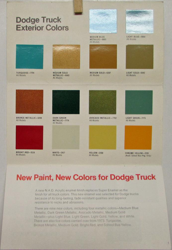 1974 Dodge Truck Color And Upholstery Selector Sales