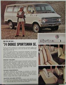 1974 Dodge Royal Sportsman SE Wagon Data Sheet Color Original On Cardstock
