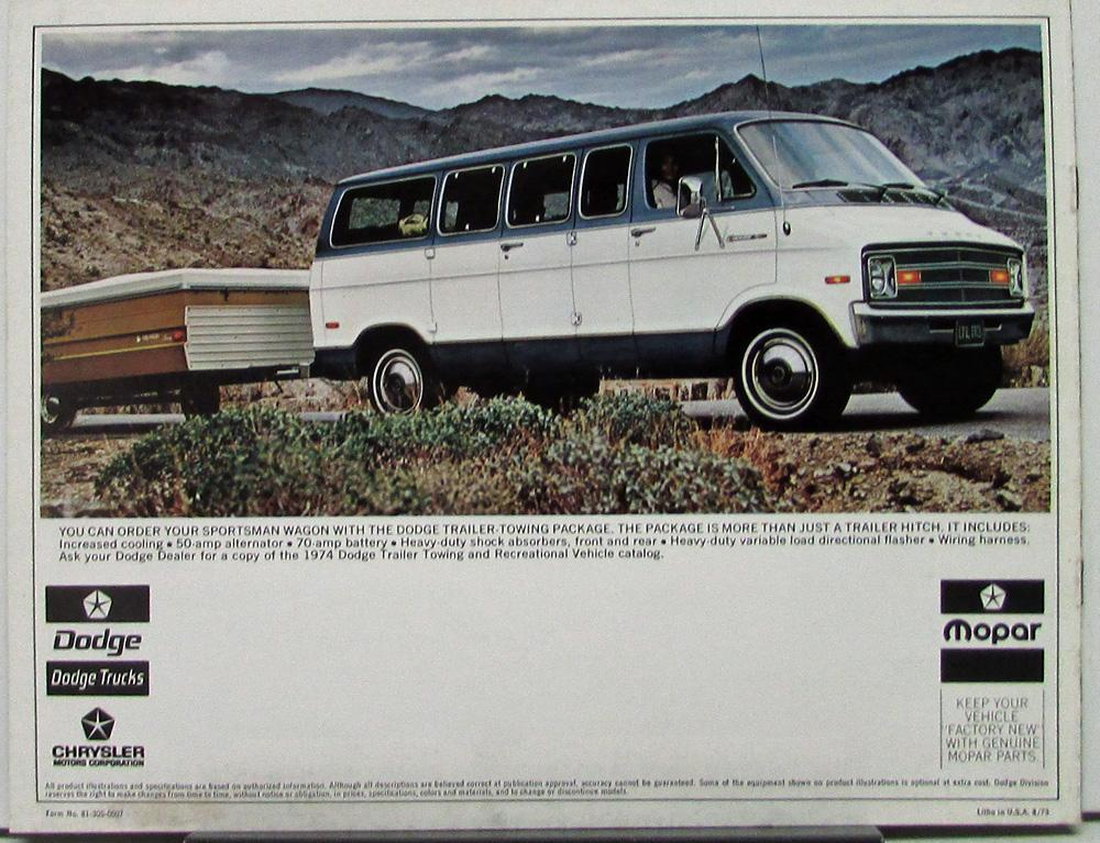 1974 Dodge Sportsman Wagons B100 B200 B300 Color Sales Brochure Original