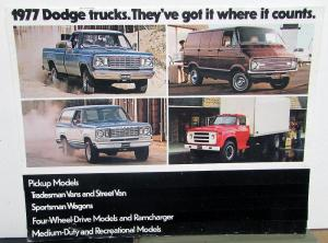 1977 Dodge Truck Pickup Tradesman Sportsman Ramcharger Full Line Sales Brochure
