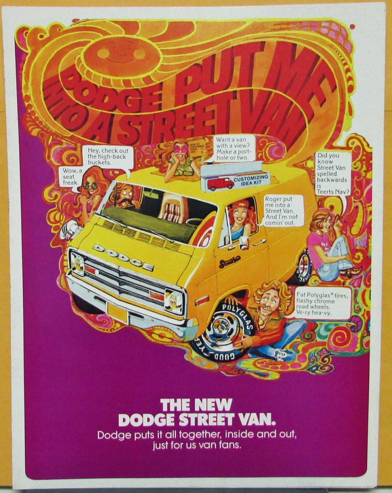 1977 Dodge Street Van B100 B200 Colorful Sales Folder Original
