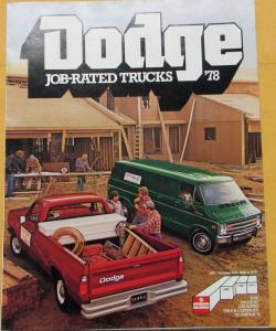 1978 Dodge Job Rated Trucks Pickups Tradesman Handyvan Color Sales Folder Orig