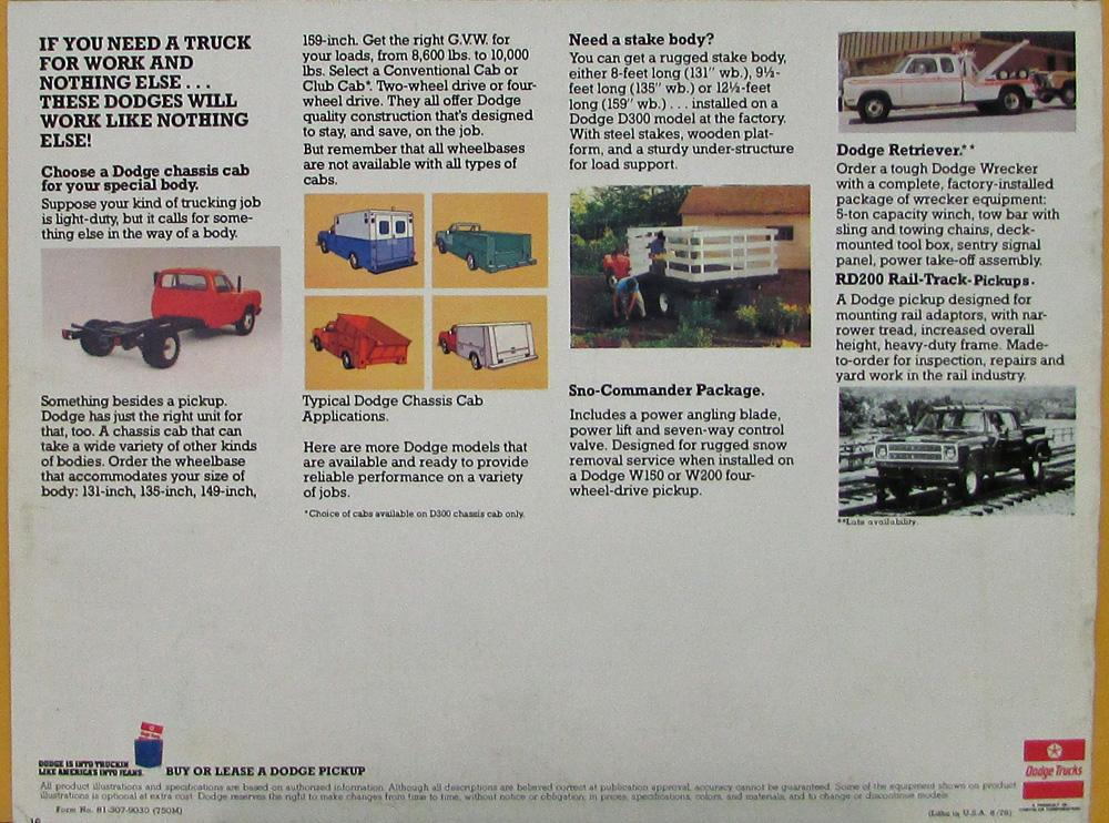 1979 Dodge Pickup Trucks Color Sales Brochure Original