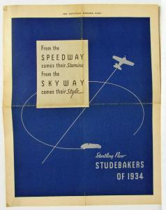 1934 Studebaker Sales Ad Reprint from Saturday Evening Post From the Speedway