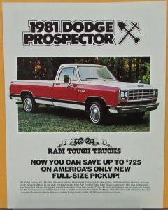 1981 Dodge Prospector Package Sweptline Pickup Truck Color Sales Sheet Original