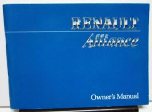 1986 AMC Renault Alliance Owners Manual Care & Operation