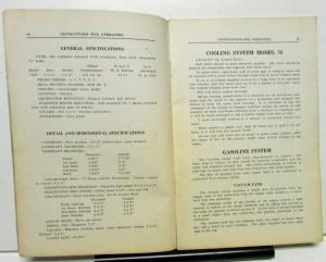 1928 Auburn 76 Models Owners Manual Instruction Book Care Operation Original