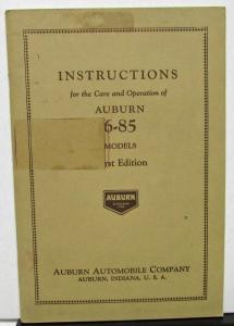 1930 Auburn 6-85 Models Owners Manual Instruction Book Care Operation Original