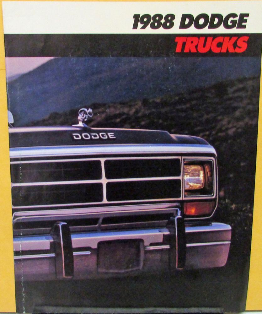 1988 Dodge Trucks Full Line Pickup Van Ramcharger Sales Brochure 1980 Truck Original