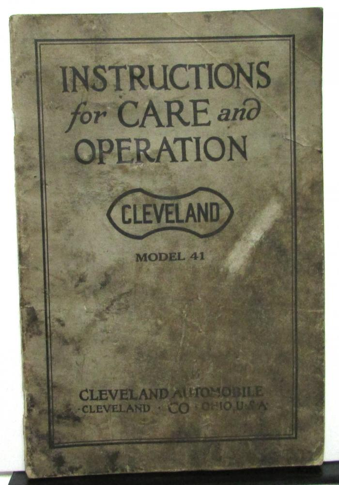 1922 cleveland model 41 owners manual instruction care operation rh autopaper com Car Owners Manual User Manual PDF