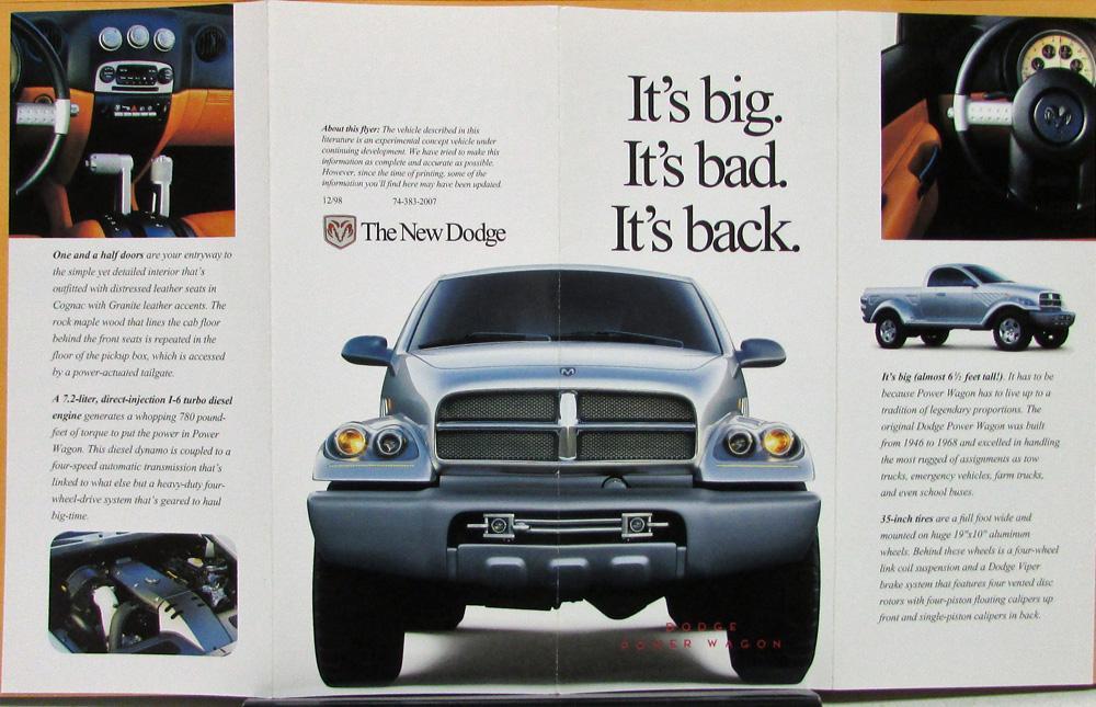 1999 Power Wagon Concept Truck Sales Folder Original