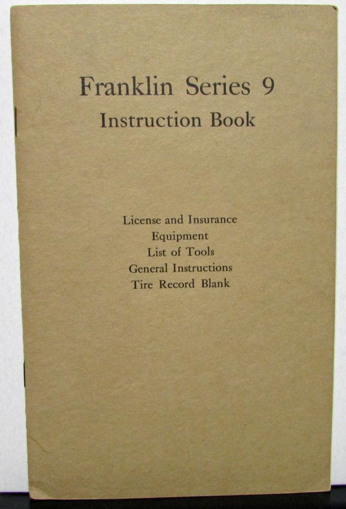 1916-17 Franklin Series 9 Owners Manual Care & Operation Maintenance Original